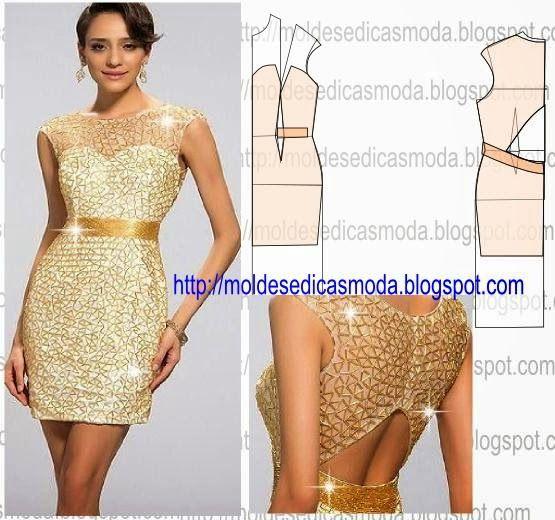 PASSO A PASSO MOLDE DE VESTIDO Desenhe o molde base de vestido, frentes e costas. Desenhe a altura do vestido nas frentes e costas. Aperte as laterais do v
