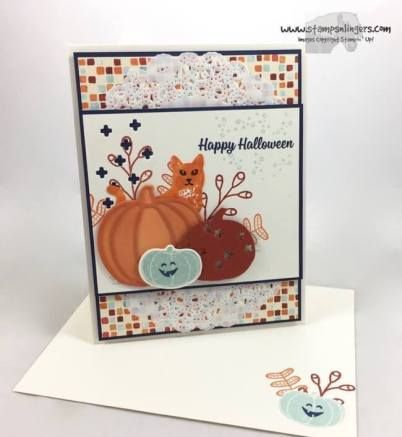 Stamps-N-Lingers.  I made this sweet-not-spooky Halloween Card using the new Pick a Pumpkin and Spooky Cat bundles - atop some Painted Autumn DSP,  For free instructions on how to make this card, please visit my blog at: https://stampsnlingers.com/2017/09/12/stampin-up-pumpkin-cat-oween-for-the-amys-inkin-krew-team-blog-hop/