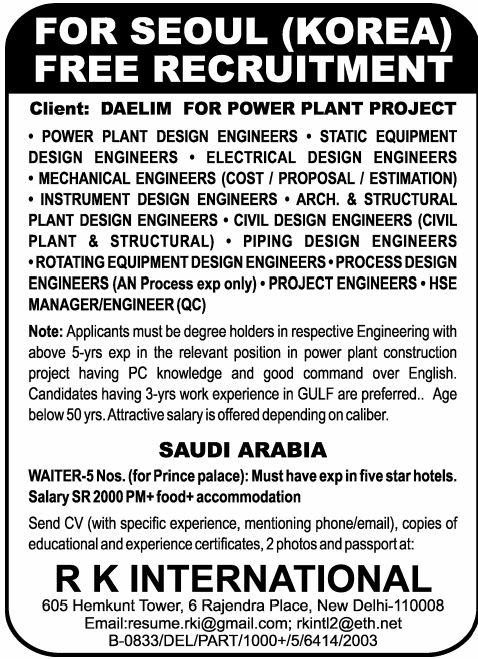 25 best Jobs in Saudi Arabia at RKInternational images on - static equipment engineer sample resume
