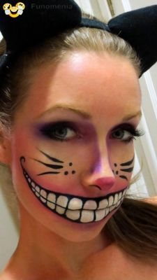dont worry smile - Amazing. Cheshire Cat make up! #makeup #painting #art #body #face #cat # cosmetics #maquillage - Funomenia