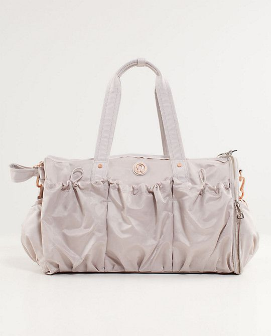 Glam gym bag from Lululemon.  Tons of compartments and even great for a carry-on bag!