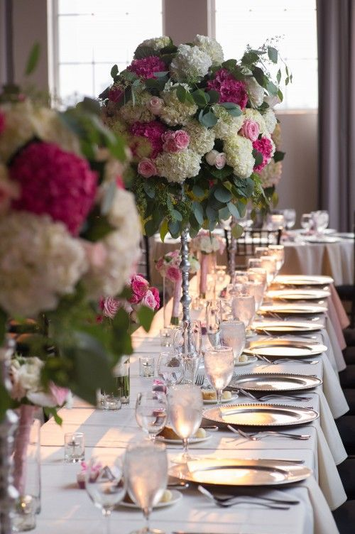 bright fuchsia, soft pink, and white lush centerpieces: Bridal Bliss Wedding