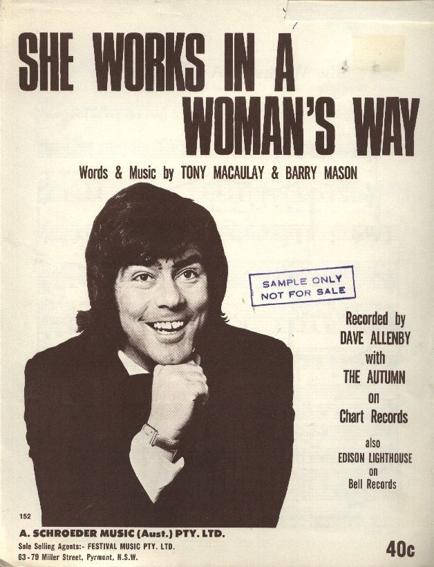 """DAVE ALLENBY   AUTUMN  Rare 1970 Aust Sheet Music """"She Works In A Woman's Way"""" in Music, Memorabilia   eBay!  JUST PURCHASED THIS TODAY."""