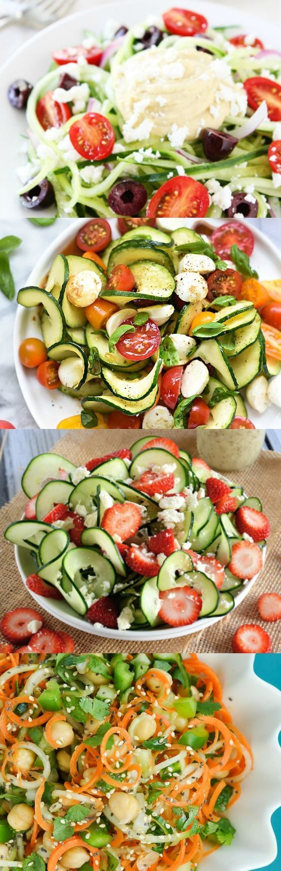 Whether you're gluten free or looking for healthy alternatives to your favorite comfort foods, vegetables and fruits shaped like noodles will make any meal special - These spiralized salads are awesome!