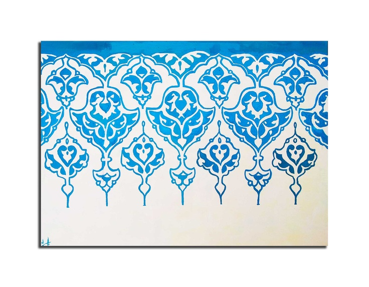modern Oil Painting with Arabic Ornamentation, turqouise and white, textured impasto painting. $229.00, via Etsy.