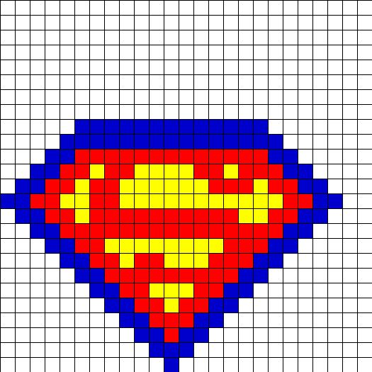Superman Fusebead Perler Bead Pattern | Bead Sprites | Characters Fuse Bead Patterns