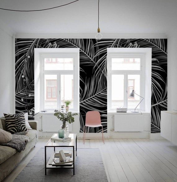 Dark Jungle Wall Mural Traditional Removable Wallpaper Etsy In 2020 Jungle Wall Mural Wallpaper Walls Decor Green Living Room Decor #removable #wallpaper #living #room