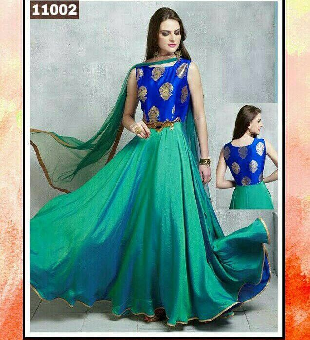 Blue & Green Shaded Matka Printed Zardosi Worked Anarkali Suit  Product Info : Dress Top : pure banarasi heavy broket Dress flair : pure two tone soft paper silk  Dupatta : pure net Bottam : santoon Inner : santoon Size:- 42+W & 58+L Pure zardoshi with cut dana patch work & full Ghera  Price : 2200 INR Only ! #Booknow  World Wide Shipping Available ! ✈ PayPal / WU Accepted 👉 C O D Available In India ! Shipping Charges Extra 👉 Stitching Service Available 👉 To order / ..