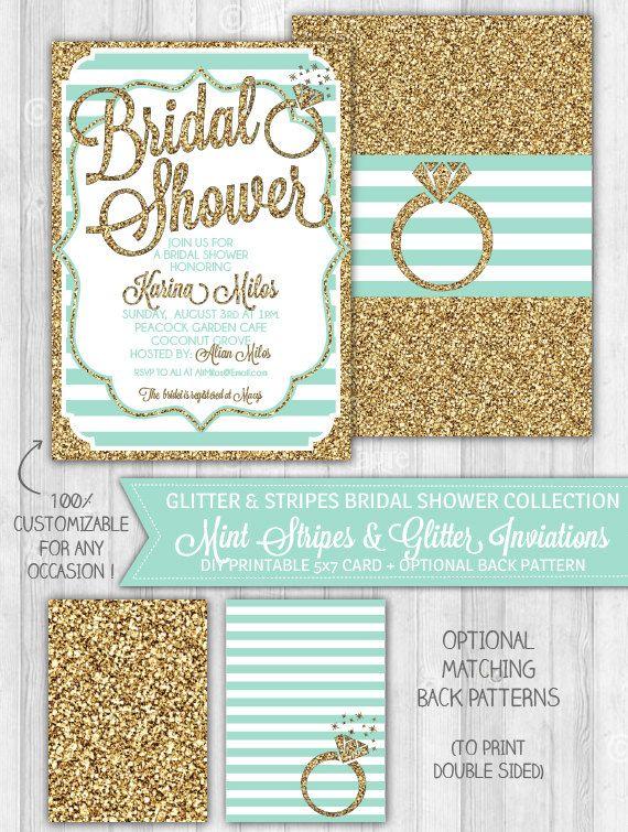 Mint Bridal Shower Invitation, Mint & Gold Glitter Bridal Shower Invitation, Teal Turquoise Bachelorette Invitation - DIGITAL PRINTABLE FILE by LaBelleStudio on Etsy https://www.etsy.com/listing/195263488/mint-bridal-shower-invitation-mint-gold