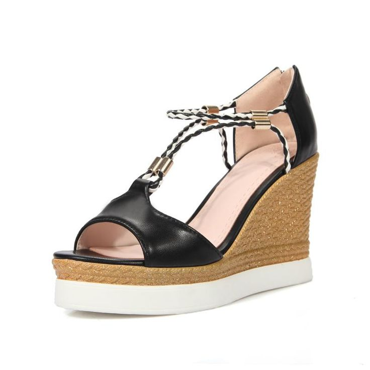 MEMUNIA 2017 New arrive women shoes sandals zipper soft leather summer wedges shoes party platform pu fashion contracted
