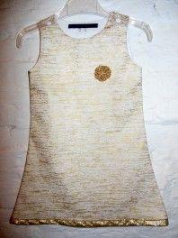 kleedje beige gouden lijnen