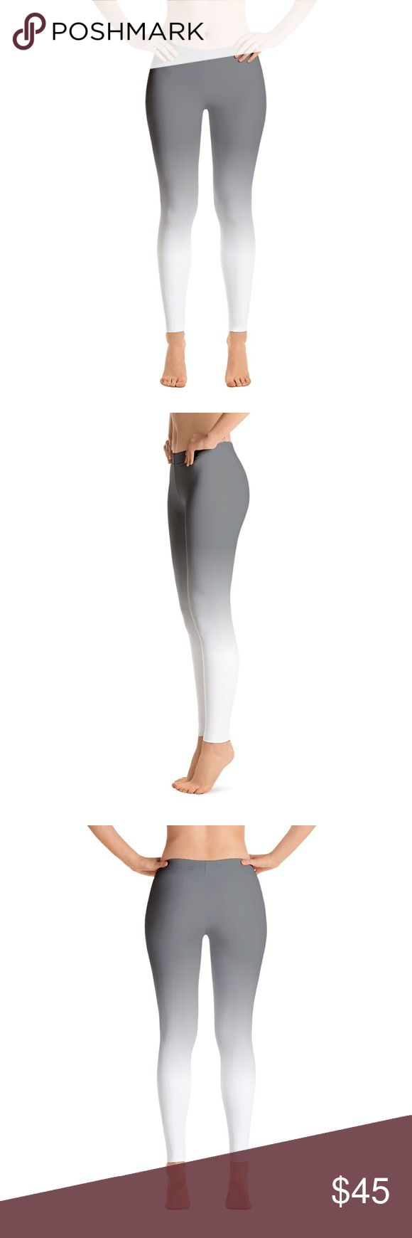 Grey and White Ombre Leggings Simple, yet still keeps you look stylish when you want to.   Stylish, durable, and a hot fashion staple. These polyester/spandex leggings are made of a comfortable microfiber yarn, and they'll never lose their stretch.   Sizing chart is in the photos.  Details:  Fabric: 82% polyester, 18% spandex? Four-way stretch, which means fabric stretches and recovers both on the cross and lengthwise grains Made of a microfiber yarn, which is smooth and comfortable Elastic…