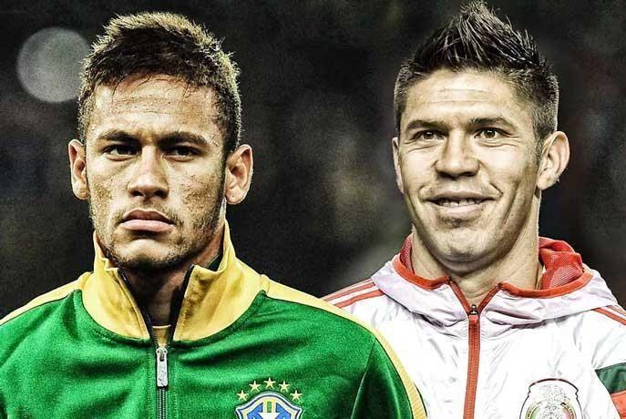 Neymar Jr., Brazil vs. Oribe Peralta, Mexico, Brazil vs. Mexico, FIFA WorldCup Brazil 2014