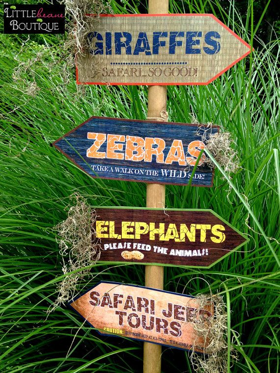 Printable Safari Jungle Signs DIY African by LittlebeaneBoutique