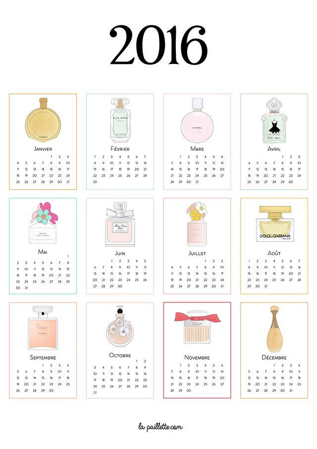 La Paillette - Blog Rennes Illustrations Wallpapers Printables Lifestyle: Calendrier 2016 complet à imprimer