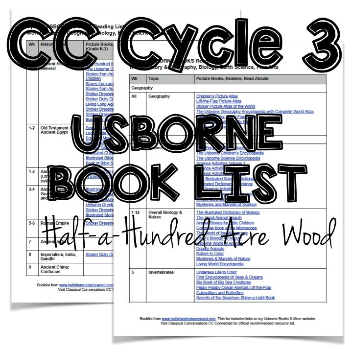 And… for those who are wanting to follow up their American history et al studies from this year, here is a much shorter list of Usborne books related to Cycle 3 of Classical Conversations (which covers American history & geography, human anatomy, chemistry, and origins along with basic math and fine arts). For those who are …