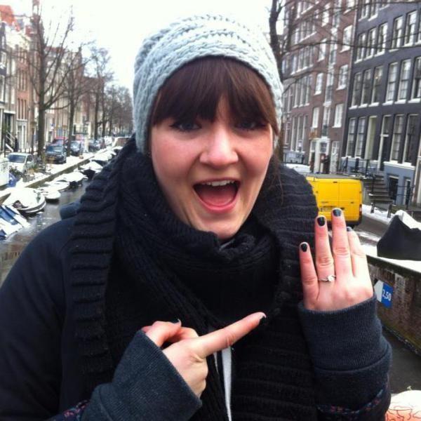 Engaged in (freezing!) Amsterdam.