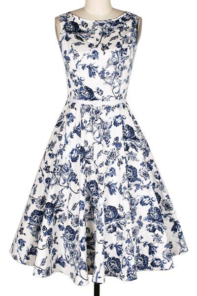 Retro Style Jewel Neck Floral Print Sleeveless Belted Flare Dress For Women