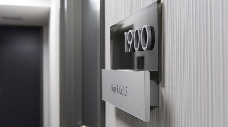 Interior Office Wayfinding Signage at 25 Adelaide St. E, Toronto, by Directional Designs