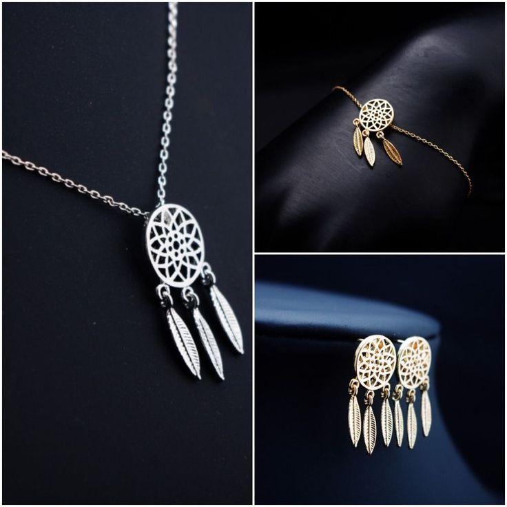 Women Dreamcatcher Bracelet Earrings Necklace Jewelry Set Feathers Silver Gold #DreamCatcher