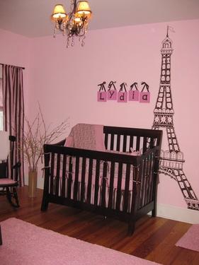 nursery ideas: Paris Nurseries, Eiffel Towers, Baby Ideas, Baby Girls, Pink Wall, Paris Rooms, Baby Rooms, Girls Nurseries, Girls Rooms