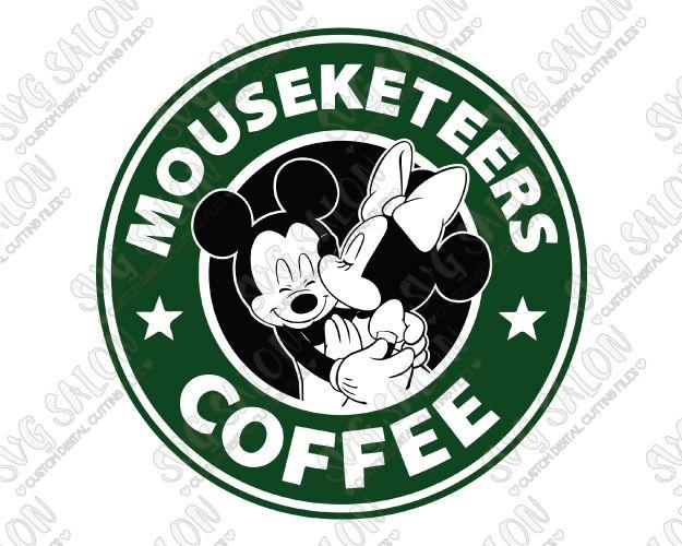 Mickey and Minnie Starbucks Logo Disney Mouseketeers Coffee SVG Cut File Set