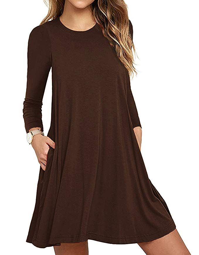 32d7a7026283 Women s Casual Plain Long Sleeve Simple T-Shirt Loose Dress Coffee X-Large