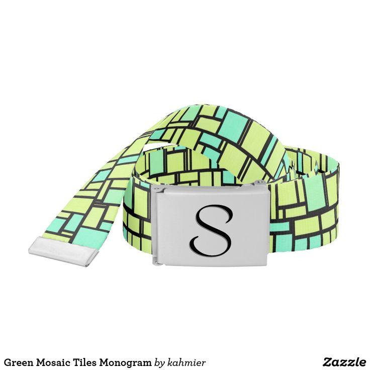 Green Mosaic Tiles Monogram Belt