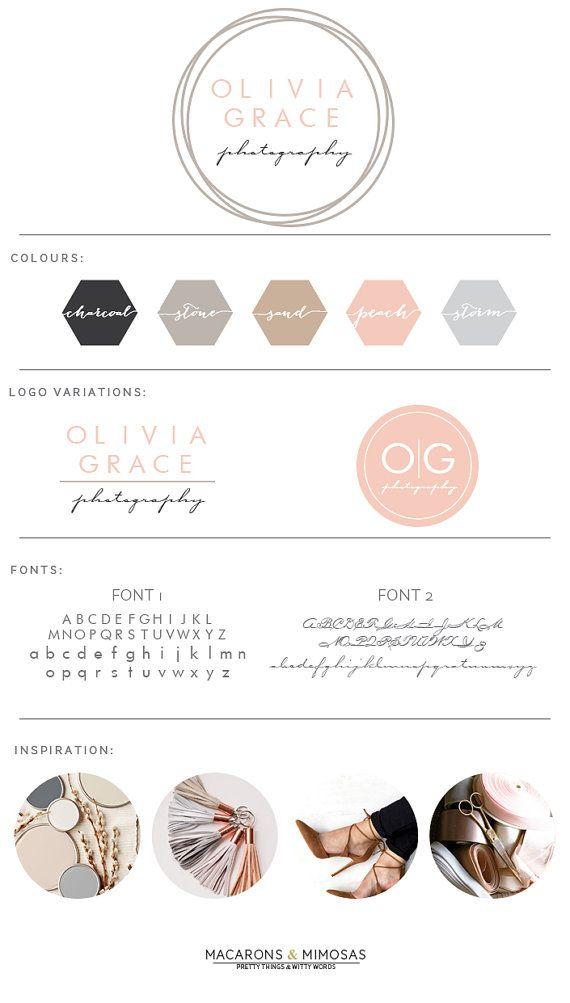 Design Studio | Branding | Business Branding | Brand Board | Branding Kit Logo Design | Rose Gold Logo | Blush Pink Teal Color Scheme | Circle Logo Calligraphy Watercolor | Premade Submark Watermark Stamp | Blogger Photography