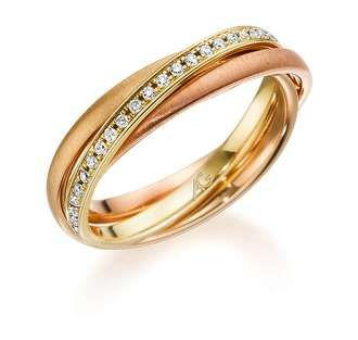 The trinity ring in Rose, Yellow & Red Gold