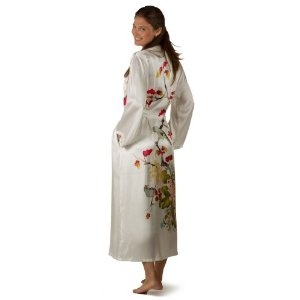 Click on the image for more details! - Silk Bathrobe for Women - Chrysanthemum (S/M) - Women's Long Silk Robe Sleepwear Mothers day gifts presents best cool good great gift ideas for mom mother from daughter son something special for mom perfect unique unusual gifts for her mom top luxury gift ideas for women (Apparel)