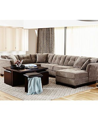 Elliot Fabric Sectional Living Room Furniture Collection Sectional Sofas