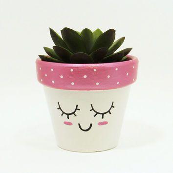 Succulent Planter, Terracotta Pot, Cute Face Planter, Air Plant Holder, Plant Pot, Flower Pot, Indoor Planter, Kawaii Planter, Pink