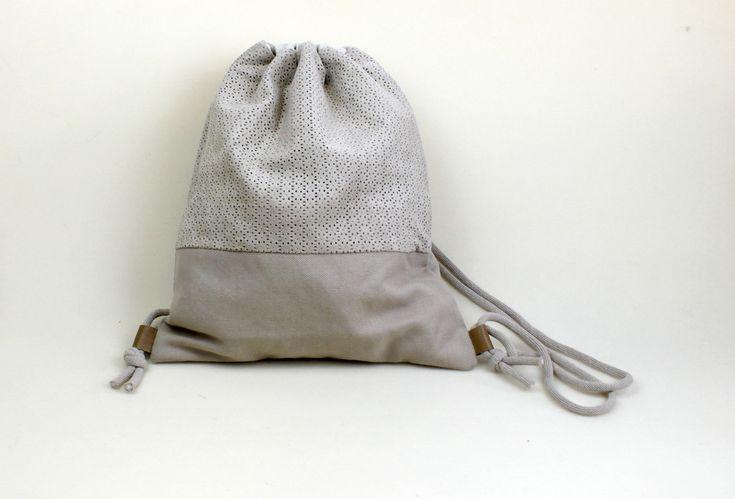Rucksäcke - Turnbeutel Rucksack Stoffbeutel Wildleder - ein Designerstück von lucieandcate bei DaWanda