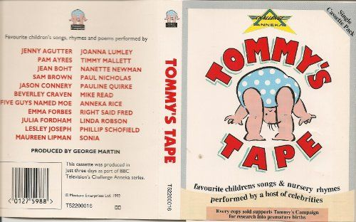 Originally produced in just 3 days on Challenge Anneka! Featuring classics The Teddy bears picnic, Nellie the Elephant and Old MacDonald had a Farm. Performed by Joanna Lumley, Timmy Mallett, Phillip Schofield and many more!  In 1992 (the year baby charity Tommy's was founded) a host of celebrities took part in a special charity challenge on the BBC's 'Challenge Anneka' programme and recorded a series of children's nursery rhymes, songs and poems to form the very popular 'Tommy's Tape' – a…