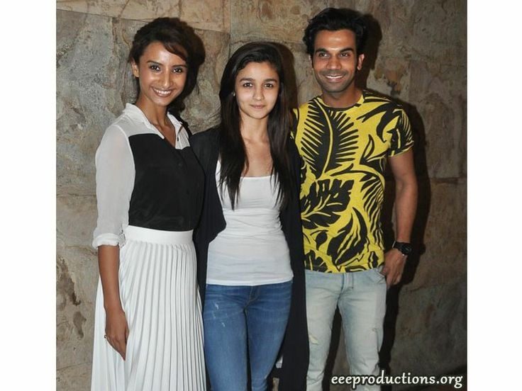 Alia Bhatt with Rajkummar Rao and Patralekha at the special screening of new upcoming movie CityLights. She was spotted with her mother Soni Razdan and father Mahesh Bhatt at at CityLights screening.