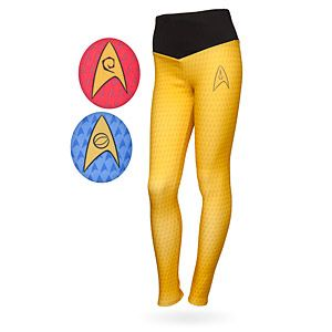 These Star Trek Uniform Leggings have a yoke that echoes the original series neckline and fabric with a Delta Shield pattern in your chosen uniform color beneath. On the right hip is your selected Starfleet insignia.