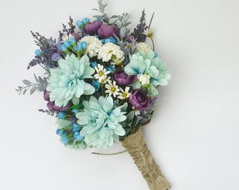 Wildflower Bouquet Turquoise Teal Purple by blueorchidcreations