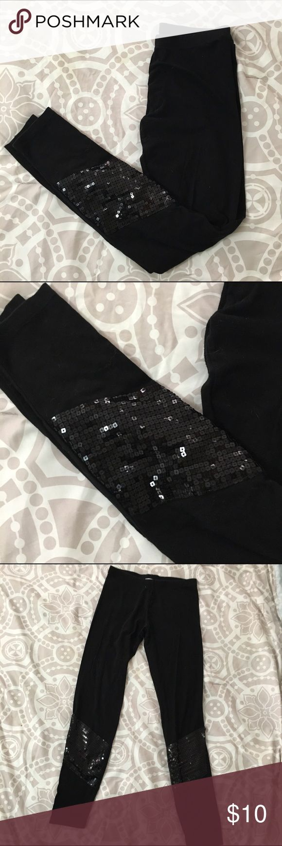 Sequin leggings 💕 Cotton leggings with square sequin application at the ankle. 95% cotton, 5% spandex. 🎀Make an offer. 🎈No trades. Charlotte Russe Pants Leggings
