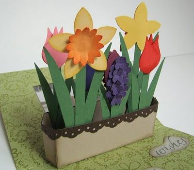 garden pop-up card; great tutorial on link, very step by step with measurements. yay!