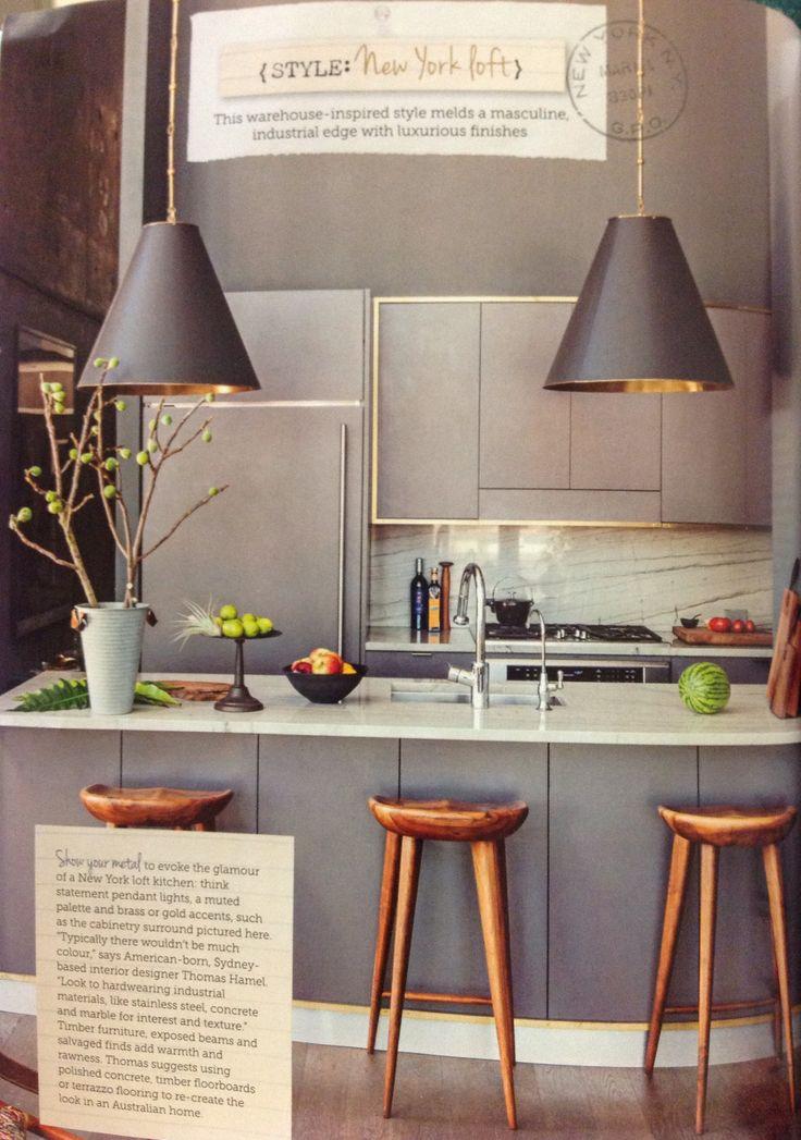 New York Loft Style Kitchen Hanging Light Shades Interior Design Pinterest