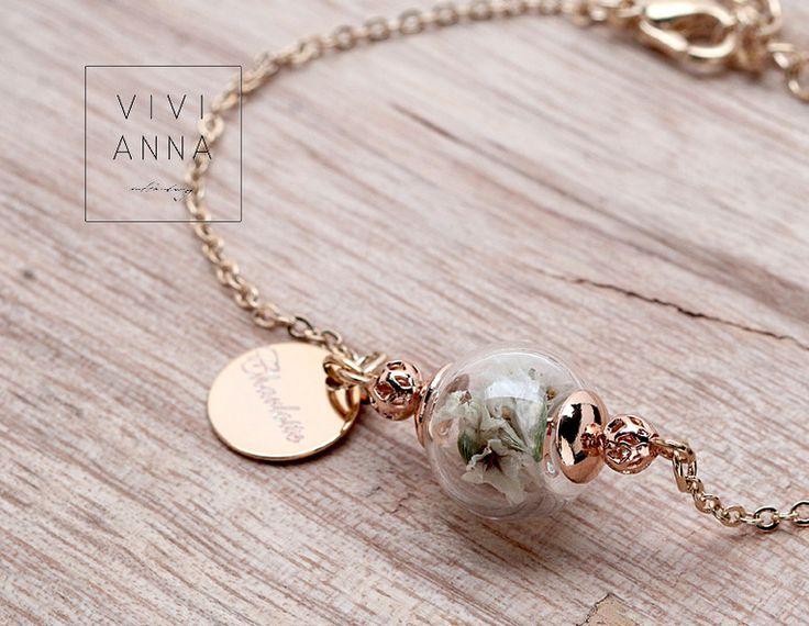 """Vergoldete Armbänder - """"zarte Innigkeit"""" Armband vergoldet mit Name  A097 - ein Designerstück von Viviannaschmuck bei DaWanda"""