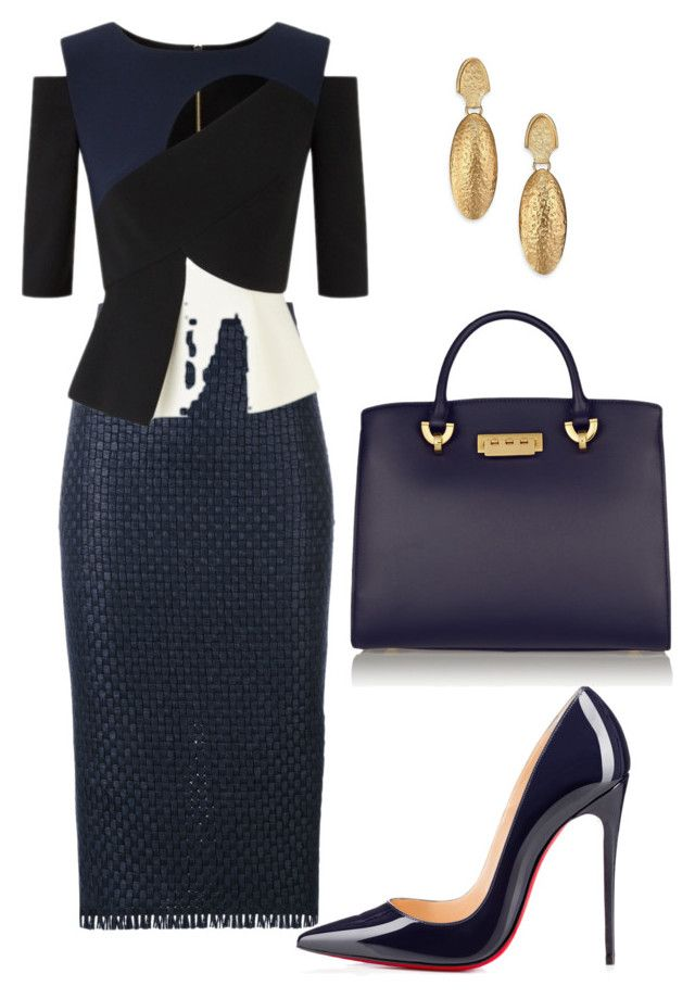 style theory by Helia by heliaamado on Polyvore featuring мода, Roland Mouret, Christian Louboutin, ZAC Zac Posen and Stephanie Kantis