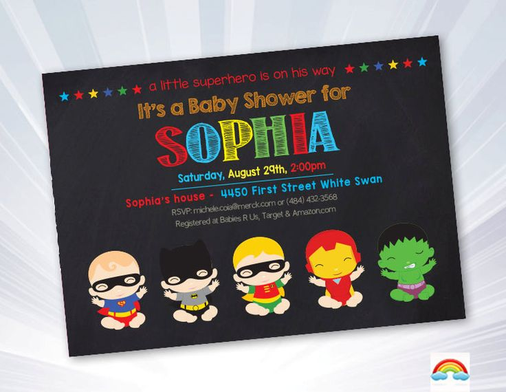 17 best images about shower on pinterest | superhero favors, Baby shower invitations