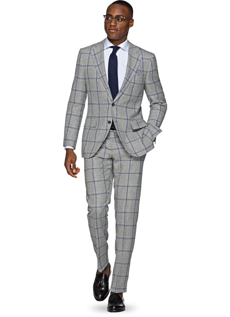 Checked Grey Suit - Hardon Clothes