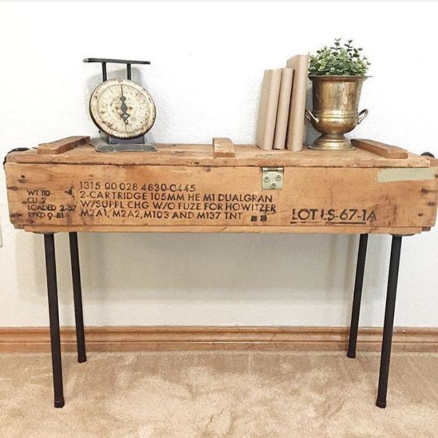 DIY Ammo box table. Upcycle an old ammo box into a table!