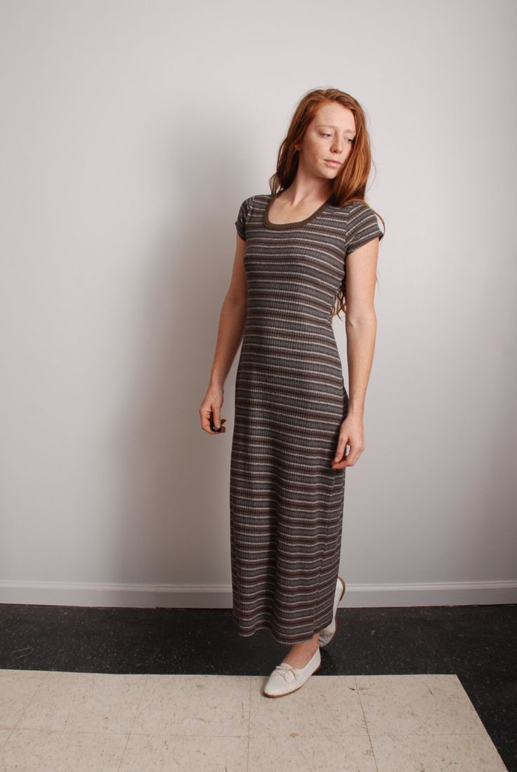 90s small medium ribbed T shirt grunge dress brown black striped long maxi womens vintage bodycon clothing by furhatguild on Etsy