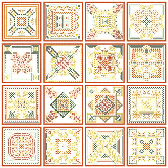 Blackwork and Cross Stitch Seasons Biscornu by sebadesigns on Etsy