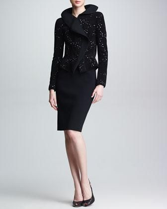 Giorgio Armani Flecked Jacquard Jacket & Tubino Knit Pencil Skirt - Neiman Marcus