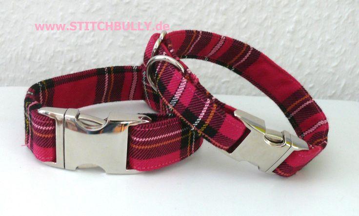 S 2 cm breit Hundehalsband School gril Look Pink von stitchbully.de macht buntes für Hunde auf DaWanda.com